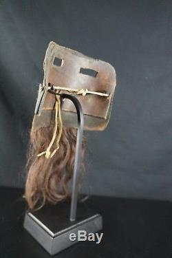 13# Antique Kachina Hopi Leather MASK Native American, With HUMAN HAIR