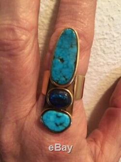 14K Turquoise and Black Opal Ring (Native American) Vintage