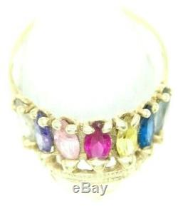 14k Solid Gold Men's Women's Vintage 1970's Native American Head Ring 14kt 585 e