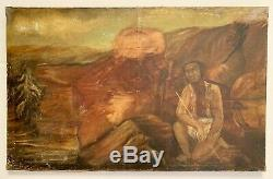 17-1800s South Western Folk Art Primitive Native American Indian Canyon Antique