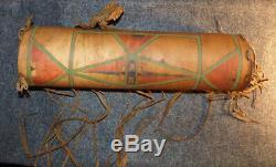 1880 Sioux Indian Parfleche Painted Rawhide Case Geometric Patterns