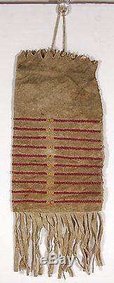 1880's NATIVE AMERICAN LAKOTA SIOUX INDIAN BEAD DECORATED HIDE POSSIBLE BAG