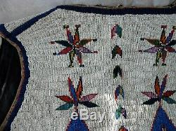 1890's SIOUX INDIAN NATIVE AMERICAN BEADED VEST BEADS Hide Antique