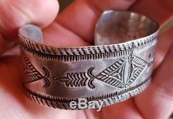 1900-1910 NAVAJO / PUEBLO COIN SILVER INGOT BRACELET With FANTASTIC STAMPWORK vafo
