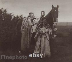 1900/72 EDWARD CURTIS Photo Gravure NATIVE AMERICAN INDIAN Cayuse Woman Horse