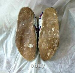 1900's CROW INDIAN NATIVE AMERICAN BEADED MOCCASINS BEADS Hide Antique