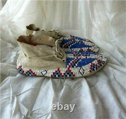 1900's PLAINS CHEYENNE INDIAN NATIVE AMERICAN BEADED MOCCASINS BEADS Antique