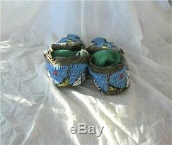 1900's PLATEAU INDIAN NATIVE AMERICAN BEADED MOCCASINS BEADS Hide Antique