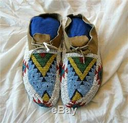 1900's SIOUX CHEYENNE INDIAN NATIVE AMERICAN BEADED MOCCASINS BEADS Antique