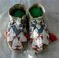 1900's SIOUX INDIAN NATIVE AMERICAN BEADED MOCCASINS BEADS Hide Antique