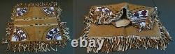 1910 20's Native American Great Lakes Woodlands Beaded Pillow Case Moose Hide
