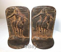 1924 pair antique bronze cast iron figural native American Indian Chief bookends