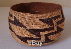 19THc ANTIQUE ORIGINAL NATIVE AMERICAN HUPA TWINED BASKET WITH PROVENANCE c. 1890