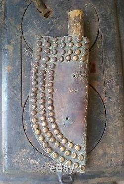 19th C Antique Native American Indian Dag Knife and Brass Studded Leather Sheath
