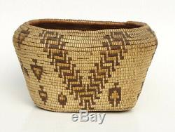 19th C. Antique Northwest Coast Native American Indian Cowlitz Pictorial Basket