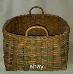 19th C. Native American Utility Basket Woven Splint Carved Handles & Rim 15-1/4
