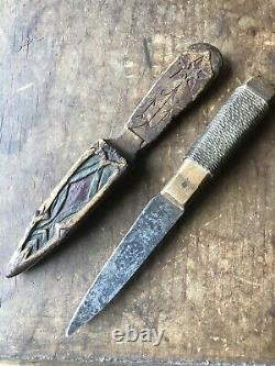 19th C Native American Woodlands Carved And Painted Wooden Knife Sheath