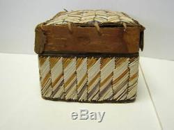 19th Century Micmac Native American Porcupine Quill Box