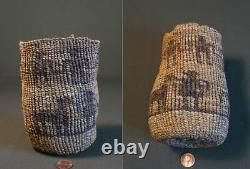 19th Century Native American NW Wasco Wishram Sally Bag Human & Horse Figures