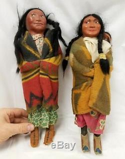 2 Antique Native American Indian SKOOKUMS Dolls
