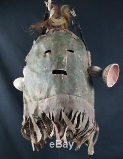 24# Early 20th C. LEATHER Kachina HOOD, Hopi, Native American