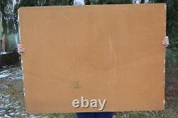 3'x4' Vintage Primitive Native American Indian Oil Board Painting Helen Peasley
