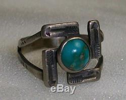 4 ANTIQUE Indian Silver & Turquoise NAVAJO Whirling Log Symbol Pinkie BABY RINGS
