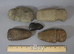 5 Ancient Antique Native American Indian Stone Axe Club Stone Artifacts, NR