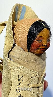 6 Mary Frances Woods Papoose Native American Doll Indian Doll Suede Cradleboard