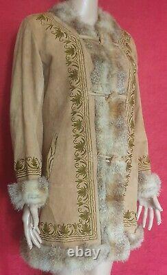 70s Buckskin Skin Native American Style Coat Real Fur Trim & Real Fur Lined Boho