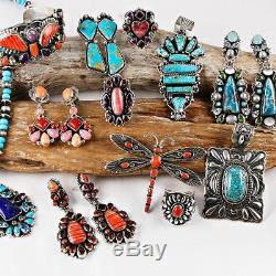 A+ Native American Jewelry Lot Turquoise Sterling Silver Squash Blossom Necklace