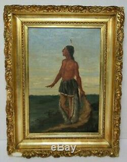 AMERICAN FOLK ART PAINTING INDIAN BRAVE NATIVE AMERICAN Antique
