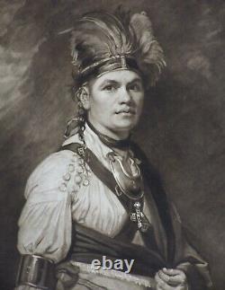 ANTIQUE 18th CENTURY ENGRAVINGNATIVE AMERICAN INDIAN CHIEF JOSEPH TAYADANEEGA
