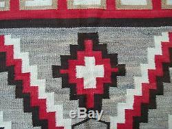 ANTIQUE 1910's NAVAJO NATIVE AMERICAN INDIAN EYE DAZZLER RUG BLANKET 84x 58 NR