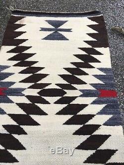 ANTIQUE 1930's NATIVE AMERICAN NAVAJO INDIAN DAZZLER RUG SADDLE BLANKET 21x38