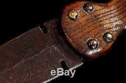 Antique Authentic 19th Century Tacked File Branded Handle Dag Knife