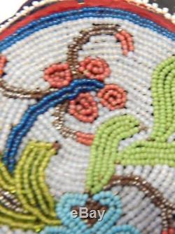 ANTIQUE CREE PLAINS INDIAN BEADED DBL SIDED BAG / POUCH c. 1860-90s FINE