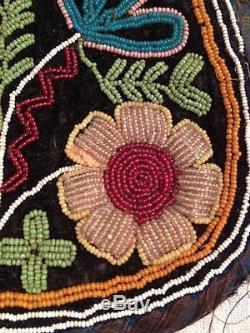 ANTIQUE NATIVE AMERICAN HAUDENOSAUNEE /IROQUOIS INDIAN BEADED PURSE/ TOBACCO BAG