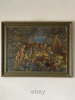 ANTIQUE NATIVE AMERICAN INDIAN OIL PAINTING OLD NAVAJO SOUTHWEST TRIBAL 1930s
