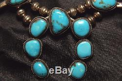 Antique Navajo Turquoise Squash Blossom Necklace Sterling Silver Free Ship