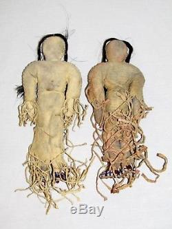 ANTIQUE NORTHERN PLAINS BEADED NATIVE AMERICAN HIDE DOLL SET of 2 FEMALE INDIANS
