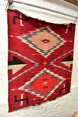 ANTIQUE Native AMERICAN INDIAN NAVAJO RUG GERMANTOWN RED whirling LOGS 37x33