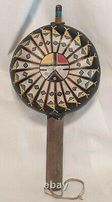 ANTIQUE Native American Collectible ACOMA PUEBLO Vintage PAINTED RATTLE