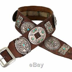 ANTIQUE Navajo Concho Belt ROGER SKEET SR. Sterling Silver Turquoise OLD PAWN