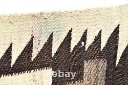 ANTIQUE Navajo Rug LARGE native american indian weaving VTG 71x46 Transitional