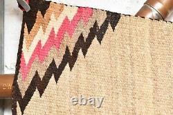 ANTIQUE Navajo Rug native american indian weaving VTG 54x36 LARGE Transitional