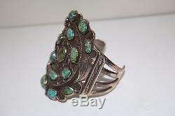 ANTIQUE Pawn Large Navajo Sterling Silver Turquoise Cuff Bracelet 105g
