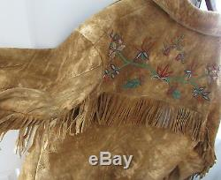 ANTIQUE SANTEE SIOUX BEADED MOOSEHIDE COAT size L stunning beadwork on old hide
