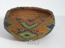 Antique Vintage Paiute Indian California Beaded Basket Early Old Example Nr