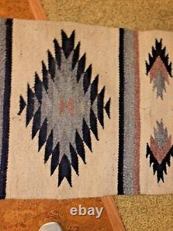 ANTIQUE Vtg NAVAJO Native American Indian Wool RUGSADDLE BLANKET 45by 22